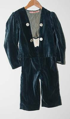 Antique Liberty & Co Ltd Turquoise Blue Velvet Boys Suit Carved Mother Of Pe
