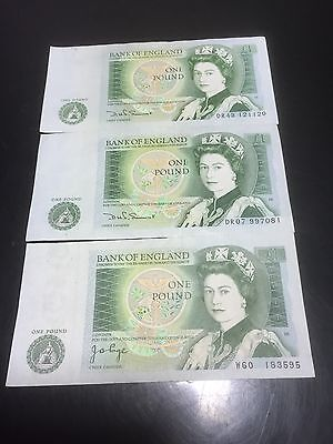 3 Bank Of England, £1 One Pound Bank Notes