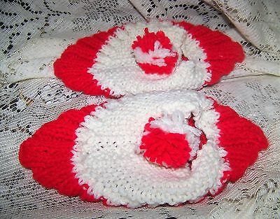Red and White Hand Made House Slippers