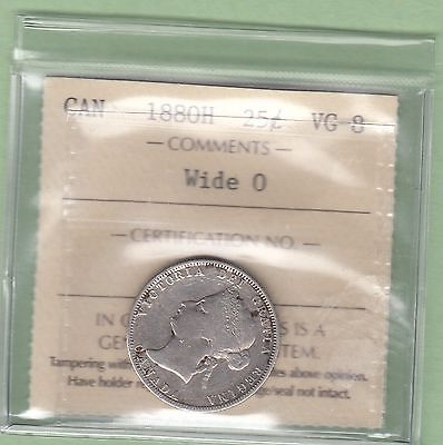 1880-H Canadian 25 Cents Silver Coin - Wide 0 - ICCS Graded VG-8