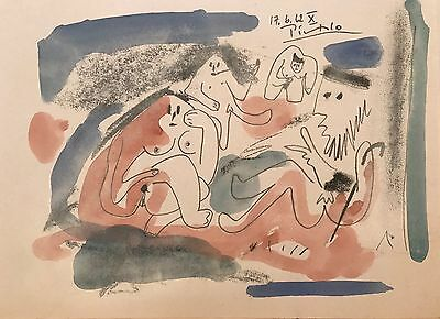 PICASSO -  ORIGINAL PAINTING/DRAWING - WATERCOLOR signed Picasso, Good Paperwork