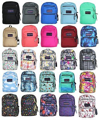 Authentic JanSport BIG STUDENT Backpack Black Grey Blue Red Coral Galaxy Bookbag