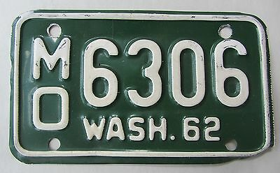 1962 Washington State Motorcycle License Plate Tag Vehicle Vintage MO 6306