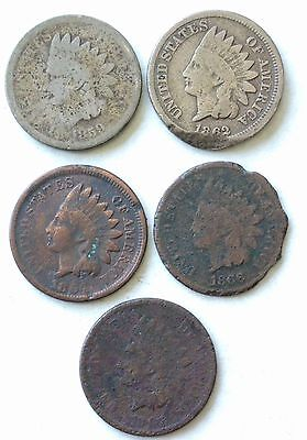 1859, 62, 64, 66,1867 Indian Head cent pennies collection a10