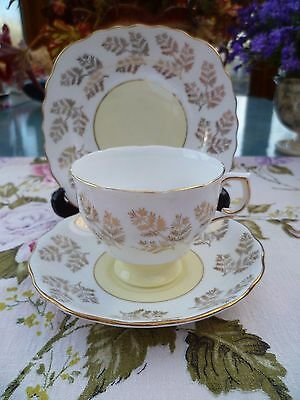 Vintage Colclough English China Trio Tea Cup Saucer Pastel Yellow Gilded