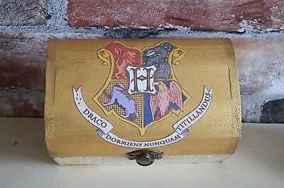 """Harry Potter inspired Hogwarts trinket box """"Aged"""" book pages. Gold finish"""