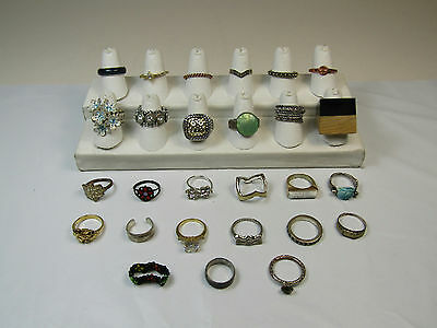 Costume Jewelry Rings Lot Wood Square Mood Bands Hamsa Hand Sparkles AS IS
