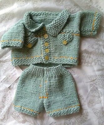 """Hand Made Knitted Jacket And Trousers For 17"""" Teddy Bear"""