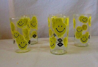 Lot of 5 Dairy Queen Yellow Smiley Happy Faces Glass