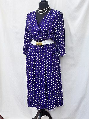 Vintage 80s does 50s Style Purple & White Polka Dot Double Breasted Midi Dress