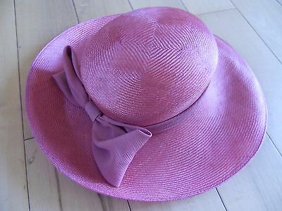 Ladies Formal Hat Pink 100%straw by Jacques Vert