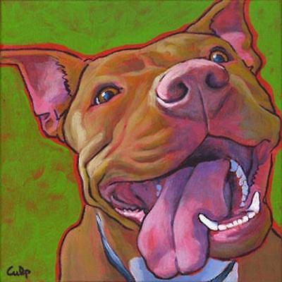 Smiling Red Nose Lucy Pit Bull Print 8x10 by Lynn Culp (LC001P8) - Free Shipping