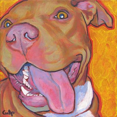 Red Nose Lucy w/ Tongue Pit Bull Print 8x10 by Lynn Culp (LC008P11) - Free Ship