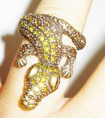 Vintage Crocodile Ring Size 8 Beautiful Sparkling Stones Nr