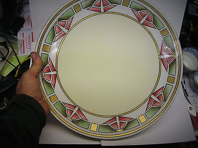 """IMPORTANT! ART_DECO CUBIST Platter SIGNED & DATED 1912 """" Mrs. Jim Smith"""" 12 1/2"""""""
