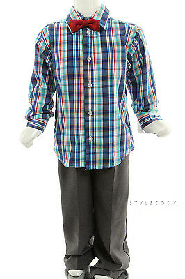 New Kids Boys Multi Plaid 331 Bow Tie Button Down 3PC Outfit Set 5