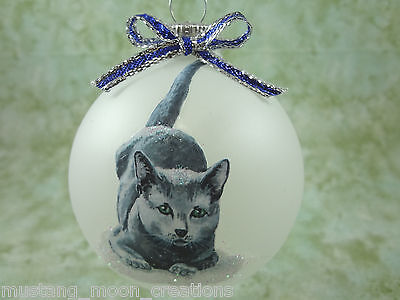 C004 Hand-made Christmas Ornament cat kitten - blue russian smokey gray cute