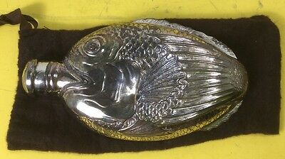 Vintage Towle Silver Plate Flask Fish Shaped Bottle Decanter in Felt Bag