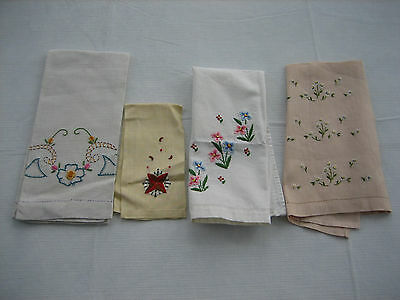 4 Vintage Different Linen Guest Hand Towels - Embroidered, Peach, Star etc