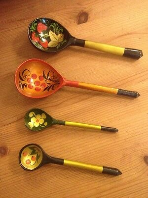 Russian Hand Painted  Four Wooden Spoons