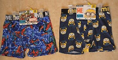 NWT Minion (2pc set) & Marvel Spiderman (2pc set) Boys Boxer Briefs Sz 8 Medium