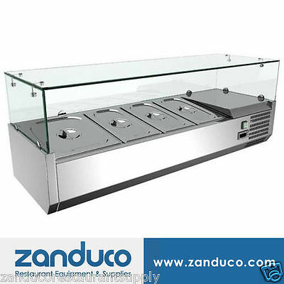 """Omcan 40535 47"""" Commercial Refrigerated 4 Pan Topping Rail RS-CN-0004-P"""