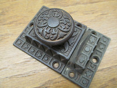 """LARGE 1890's CUPBOARD LATCH CABINET LOCK LATCHE ORNATE DETAIL NICE"""" AS FOUND """""""
