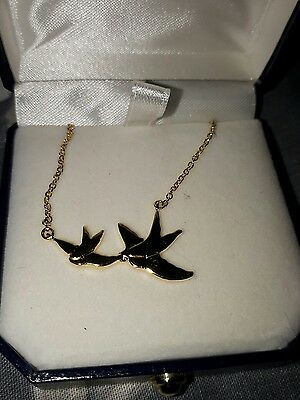 9ct yellow gold on sterling silver swallow necklace