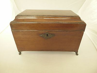 Antique Wooden Tea Caddy, Claw Feet, Brass Hinges