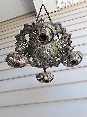 Vintage Antique 1920's  Chandelier, Multi-Colored, Cast Aluminum, 4 Light Cluste