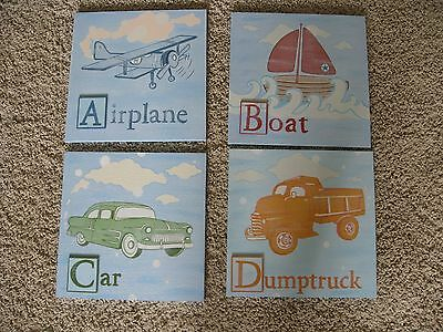 Wood Plaque Boy Nursery Wall Decor Transportation Set of 4
