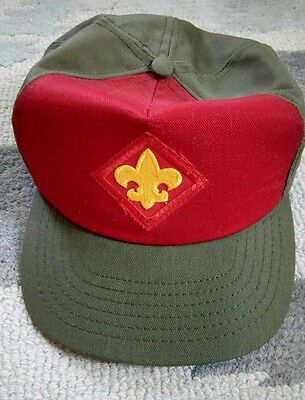 Vintage Boy Scouts of America size M/L Hat Adjustable Tab Red and Green