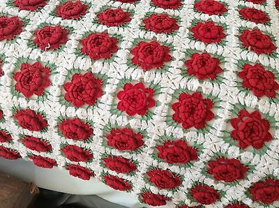 Red Flower Hand Crochet Bedspread Afghan Bed Cover Square Rose rare wow stunning