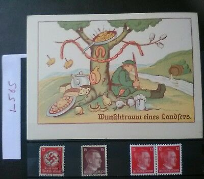 German Ww2 Stamps /feldpost Postcard , Original, 1939 /45