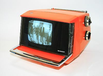 Iconic 1970 Sharp 5P- 12Y B/w Television Fernsehen Working Vintage Space Age