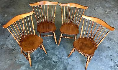 Sprague & Carleton Lot Of 4 Solid Rock Maple Antique Chairs