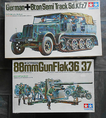Vintage Tamiya 1/35 WW2 German 8ton Half-Track Motorized & 88 flak36 model kits.