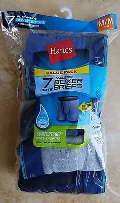 New HANES Boys Tagless Comfortsoft Boxer Briefs Sz Medium 10-12