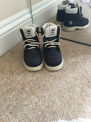 Boys Black And White Timberlands Size 5M