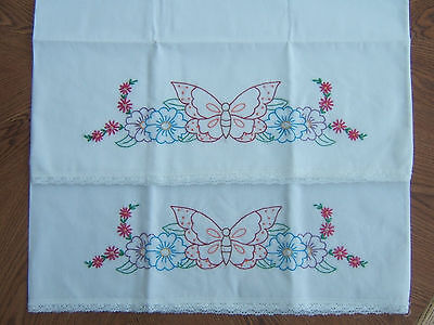 Vintage Pair of Pillowcases Hand Embroidered with Crochet Edging ~ Butterflies