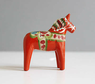 Vintage Swedish Dala Horse Red Green Hand Painted Mid Century