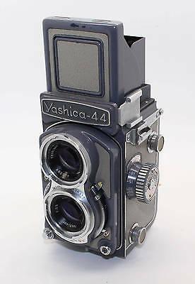 Yashica 44 Grey Small TLR Camera 127 Film with manual, lens cap, case, box c1958
