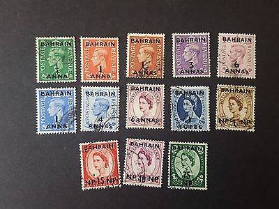 BAHRAIN STAMPS- COLLECTION of 13 BAHRAIN OVERPRINT 1/2a -75NP - USED - 49p START