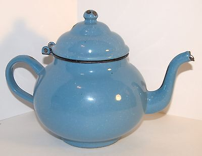 VTG Blue Enamelware Teapot Tea Kettle Vollrath French Country