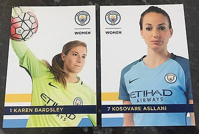 2 X Manchester City Womens Player Postcards 2017 Season ** Mint **