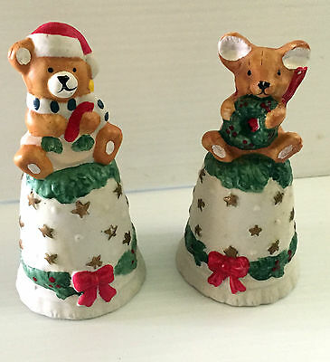 Vintage Ceramic Bisque Mouse and Bear Collector Bells Christmas Table Top Decor