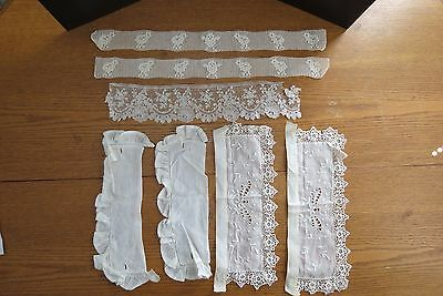 Vintage Lace Collars or Cuffs and Pieces Lot of 7 Items