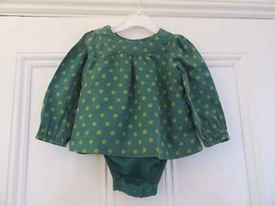 12-18m: Pretty smock top/blouse (built-in vest) - Green spotty - Baby Gap