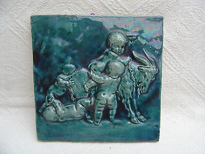 Large Antique Iridescent Majolica Pottery Tile - Cherubs With Goat - Massier