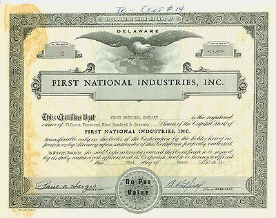 Stock Certificate -  FIRST NATIONAL INDUSTRIES, INC.